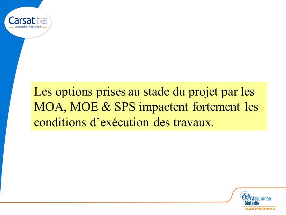 Les options prises au stade du projet par les MOA, MOE & SPS impactent fortement les conditions dexécution des travaux.