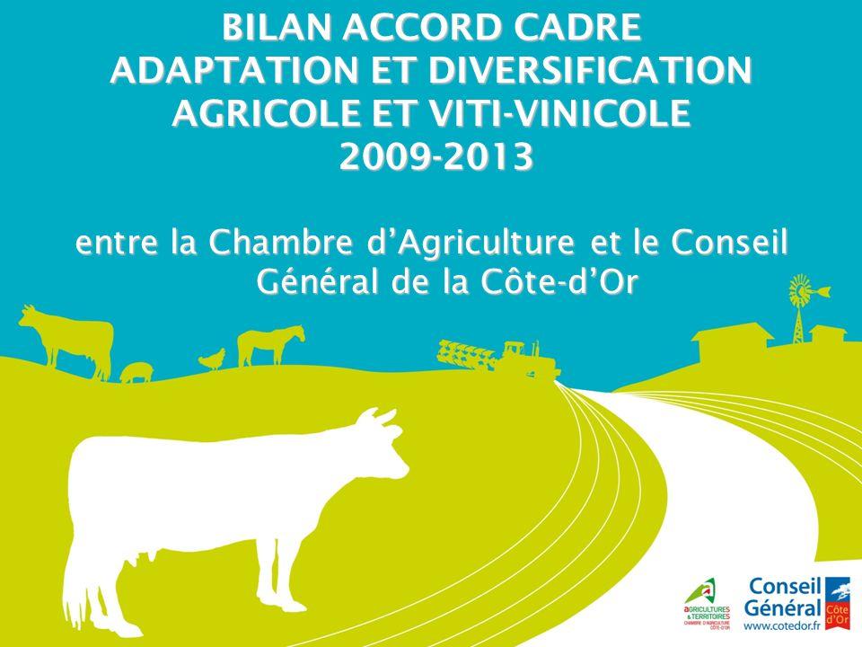 BILAN ACCORD CADRE ADAPTATION ET DIVERSIFICATION AGRICOLE ET VITI-VINICOLE 2009-2013 2009-2013 entre la Chambre dAgriculture et le Conseil Général de la Côte-dOr