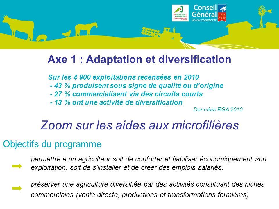 Axe 1 : Adaptation et diversification Zoom sur les aides aux microfilières Objectifs du programme permettre à un agriculteur soit de conforter et fiabiliser économiquement son exploitation, soit de sinstaller et de créer des emplois salariés.