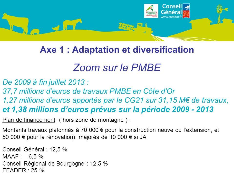Axe 1 : Adaptation et diversification Zoom sur le PMBE De 2009 à fin juillet 2013 : 37,7 millions deuros de travaux PMBE en Côte dOr 1,27 millions deuros apportés par le CG21 sur 31,15 M de travaux, et 1,38 millions deuros prévus sur la période 2009 - 2013 Plan de financement ( hors zone de montagne ) : Montants travaux plafonnés à 70 000 pour la construction neuve ou lextension, et 50 000 pour la rénovation), majorés de 10 000 si JA Conseil Général : 12,5 % MAAF : 6,5 % Conseil Régional de Bourgogne : 12,5 % FEADER : 25 %