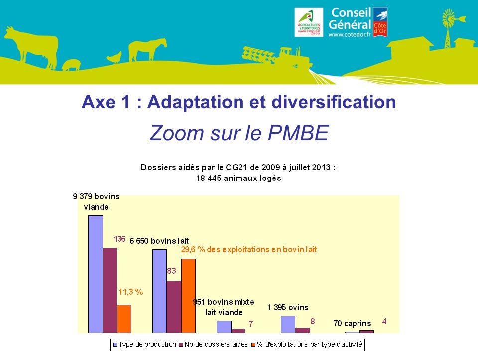 Axe 1 : Adaptation et diversification Zoom sur le PMBE