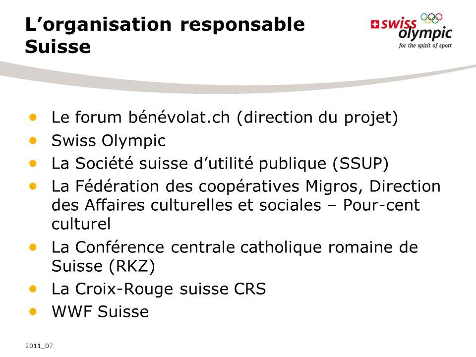 Lorganisation responsable Suisse Le forum bénévolat.ch (direction du projet) Swiss Olympic La Société suisse dutilité publique (SSUP) La Fédération de