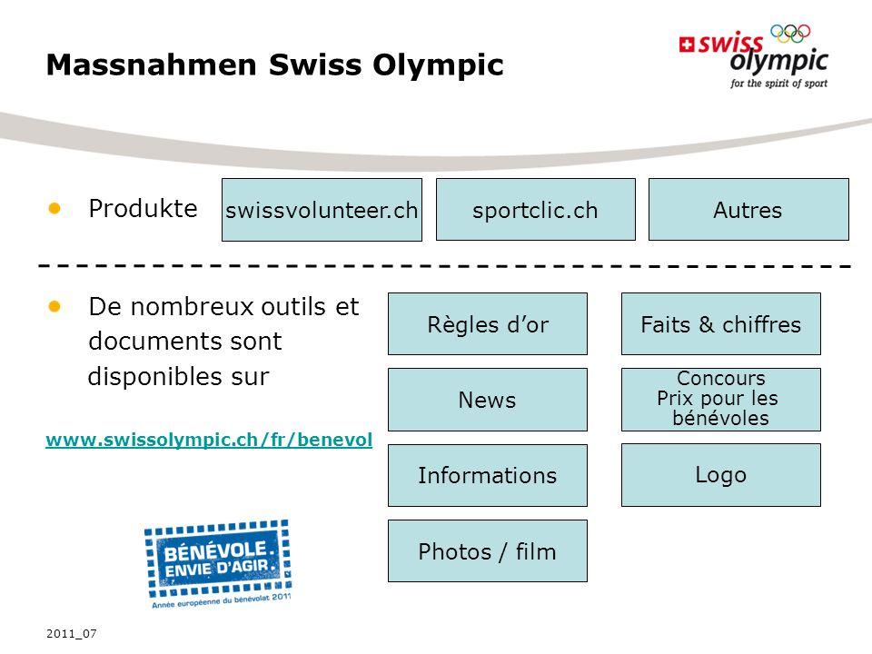 Produkte De nombreux outils et documents sont disponibles sur www.swissolympic.ch/fr/benevol swissvolunteer.ch sportclic.ch Règles dorFaits & chiffres