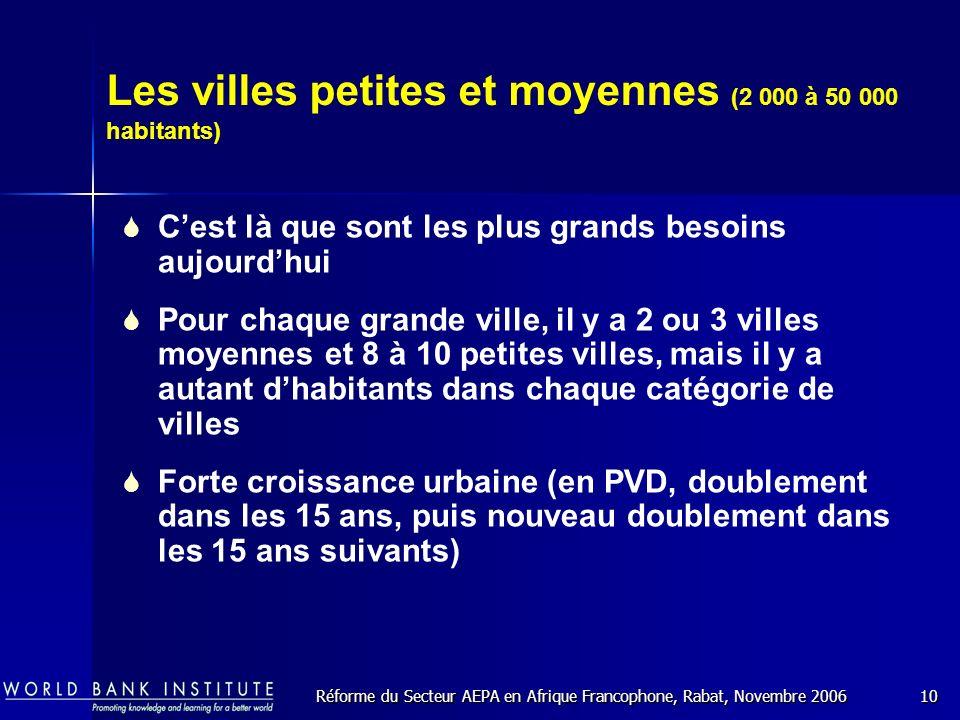 Réforme du Secteur AEPA en Afrique Francophone, Rabat, Novembre 200610 Les villes petites et moyennes (2 000 à 50 000 habitants) Cest là que sont les plus grands besoins aujourdhui Pour chaque grande ville, il y a 2 ou 3 villes moyennes et 8 à 10 petites villes, mais il y a autant dhabitants dans chaque catégorie de villes Forte croissance urbaine (en PVD, doublement dans les 15 ans, puis nouveau doublement dans les 15 ans suivants)