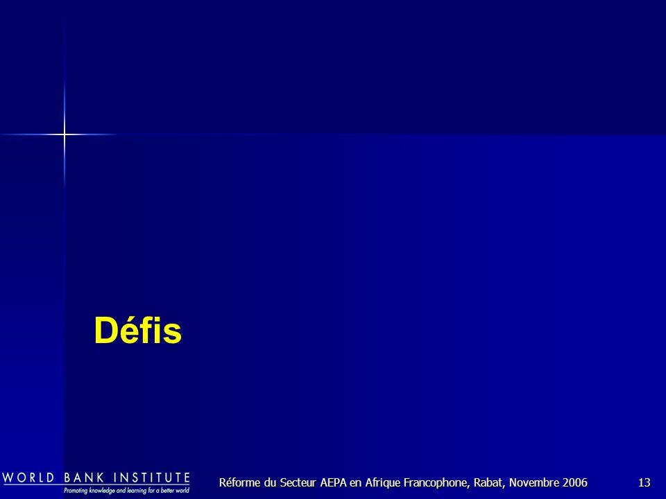 Réforme du Secteur AEPA en Afrique Francophone, Rabat, Novembre 200613 Défis
