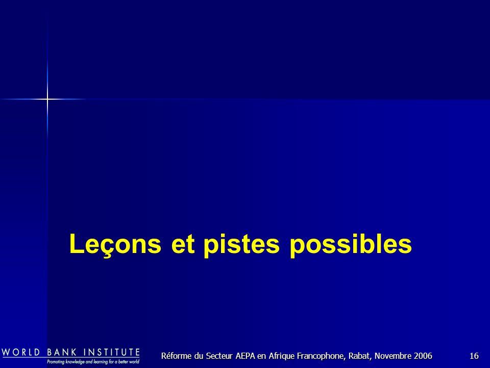 Réforme du Secteur AEPA en Afrique Francophone, Rabat, Novembre 200616 Leçons et pistes possibles