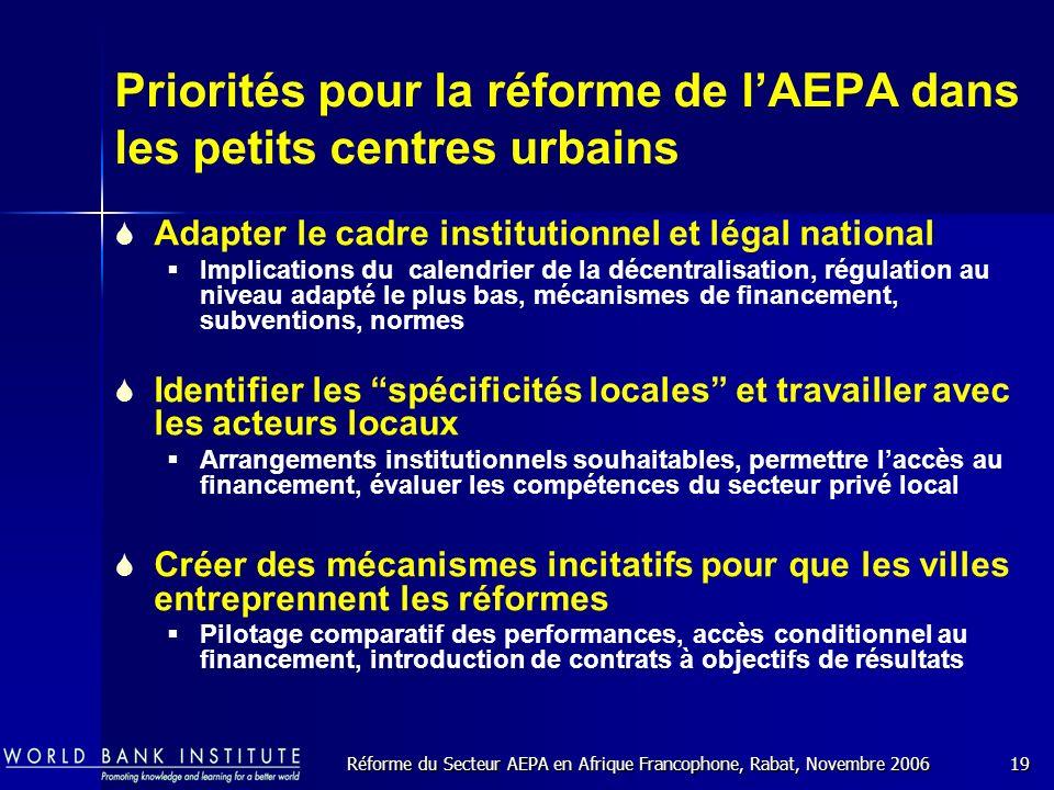 Réforme du Secteur AEPA en Afrique Francophone, Rabat, Novembre 200619 Priorités pour la réforme de lAEPA dans les petits centres urbains Adapter le cadre institutionnel et légal national Implications du calendrier de la décentralisation, régulation au niveau adapté le plus bas, mécanismes de financement, subventions, normes Identifier les spécificités locales et travailler avec les acteurs locaux Arrangements institutionnels souhaitables, permettre laccès au financement, évaluer les compétences du secteur privé local Créer des mécanismes incitatifs pour que les villes entreprennent les réformes Pilotage comparatif des performances, accès conditionnel au financement, introduction de contrats à objectifs de résultats