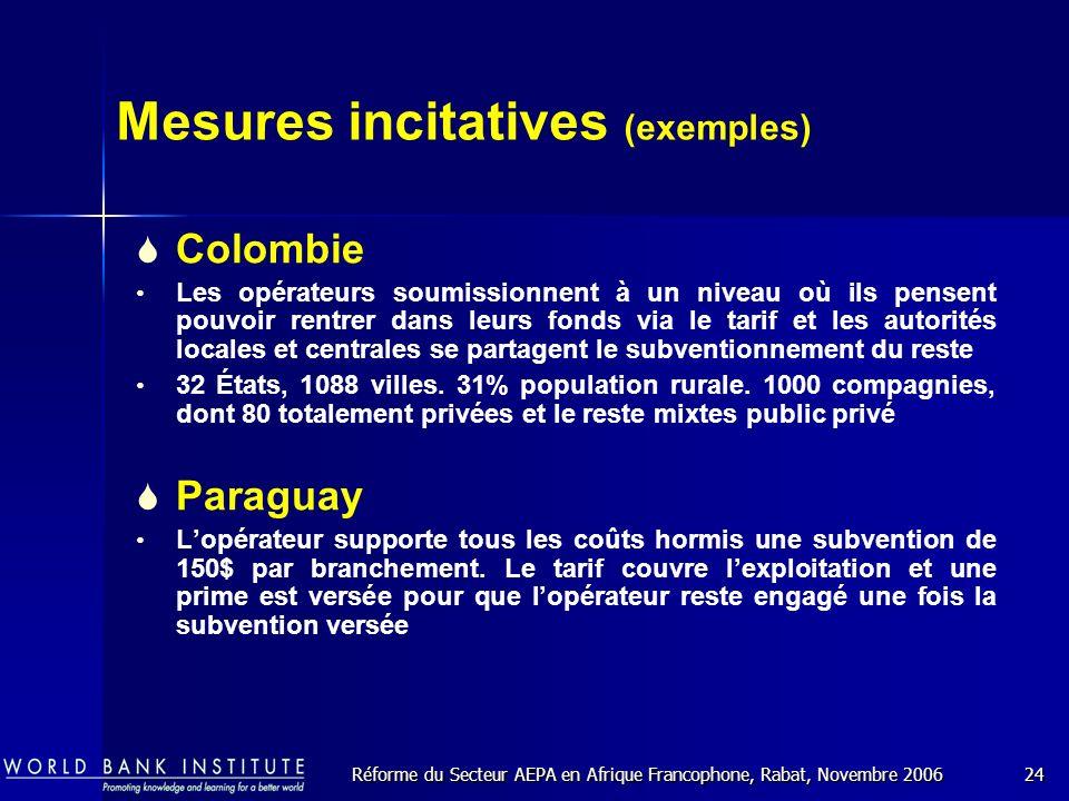 Réforme du Secteur AEPA en Afrique Francophone, Rabat, Novembre 200624 Mesures incitatives (exemples) Colombie Les opérateurs soumissionnent à un niveau où ils pensent pouvoir rentrer dans leurs fonds via le tarif et les autorités locales et centrales se partagent le subventionnement du reste 32 États, 1088 villes.