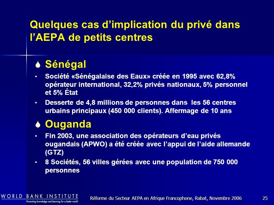 Réforme du Secteur AEPA en Afrique Francophone, Rabat, Novembre 200625 Quelques cas dimplication du privé dans lAEPA de petits centres Sénégal Société «Sénégalaise des Eaux» créée en 1995 avec 62,8% opérateur international, 32,2% privés nationaux, 5% personnel et 5% État Desserte de 4,8 millions de personnes dans les 56 centres urbains principaux (450 000 clients).