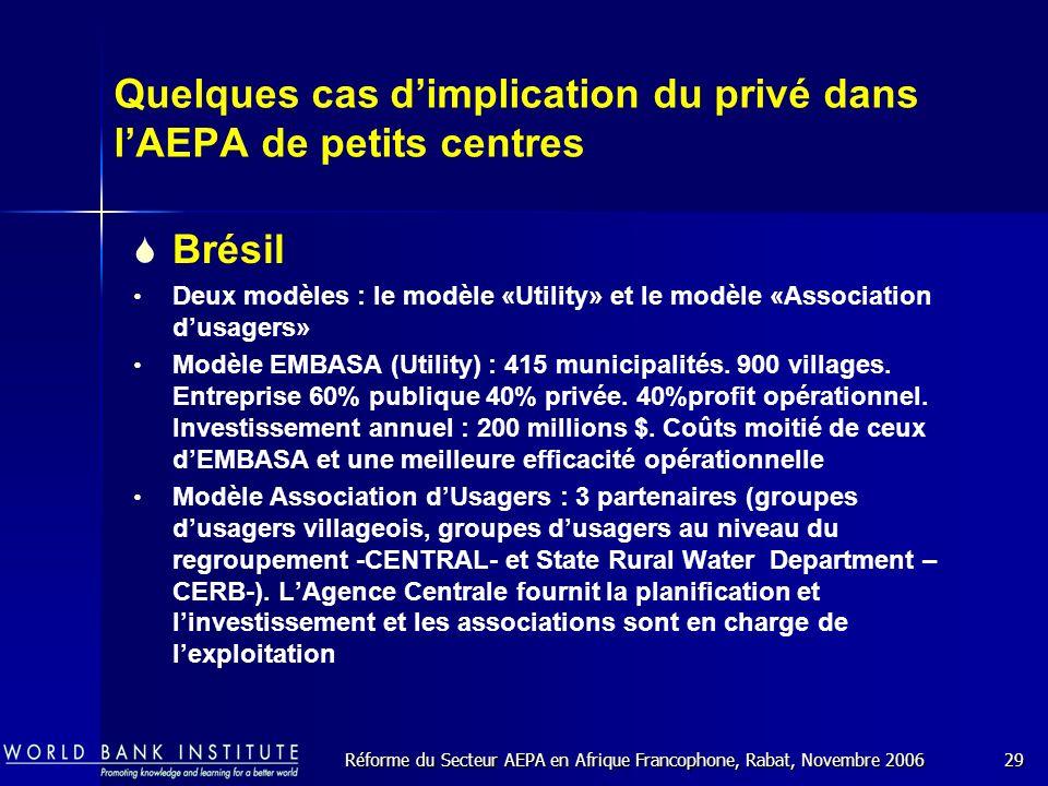 Réforme du Secteur AEPA en Afrique Francophone, Rabat, Novembre 200629 Quelques cas dimplication du privé dans lAEPA de petits centres Brésil Deux modèles : le modèle «Utility» et le modèle «Association dusagers» Modèle EMBASA (Utility) : 415 municipalités.