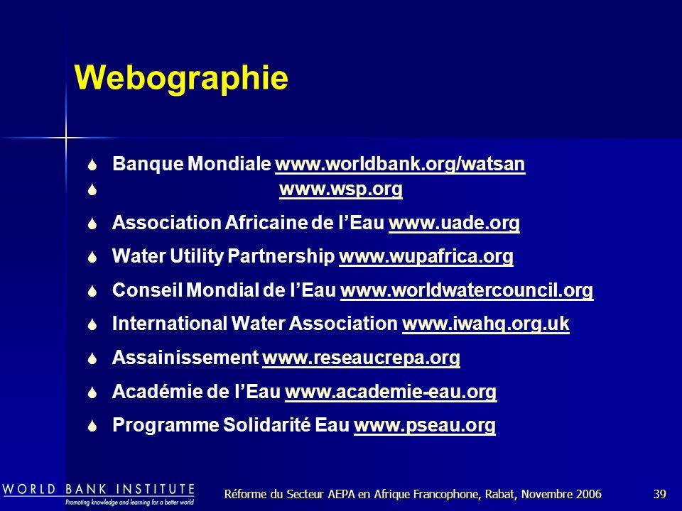 Réforme du Secteur AEPA en Afrique Francophone, Rabat, Novembre 200639 Webographie Banque Mondiale www.worldbank.org/watsanwww.worldbank.org/watsan www.wsp.org Association Africaine de lEau www.uade.orgwww.uade.org Water Utility Partnership www.wupafrica.org Conseil Mondial de lEau www.worldwatercouncil.orgwww.worldwatercouncil.org International Water Association www.iwahq.org.ukwww.iwahq.org Assainissement www.reseaucrepa.orgwww.reseaucrepa.org Académie de lEau www.academie-eau.orgwww.academie-eau.org Programme Solidarité Eau www.pseau.orgwww.pseau.org