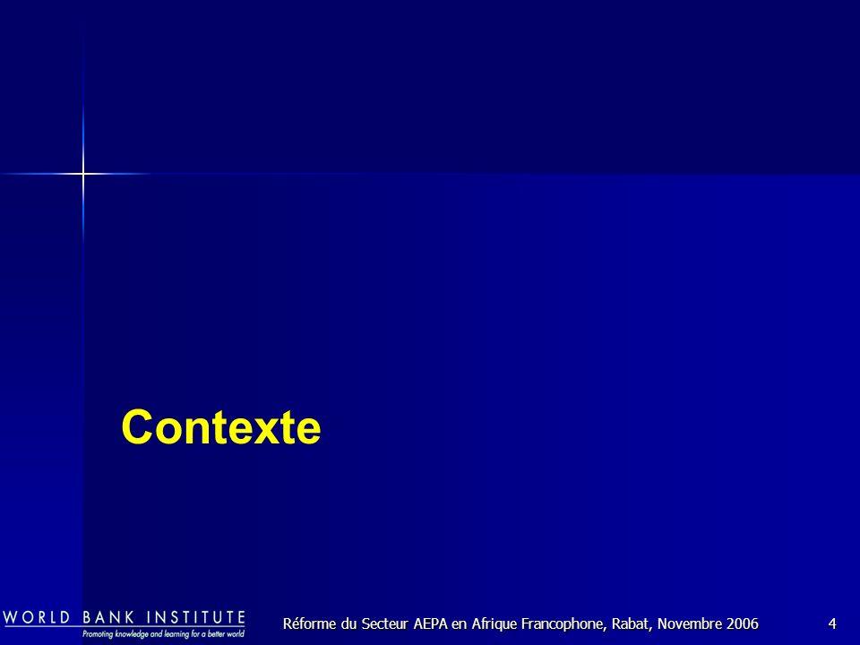 Réforme du Secteur AEPA en Afrique Francophone, Rabat, Novembre 20064 Contexte