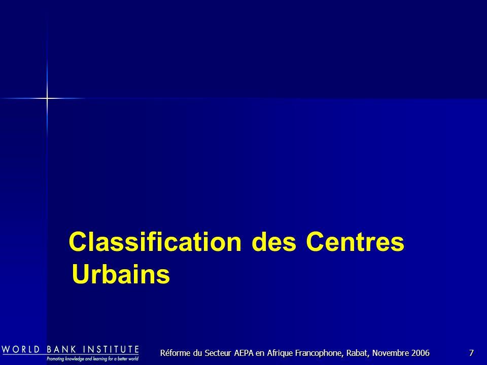 Réforme du Secteur AEPA en Afrique Francophone, Rabat, Novembre 20067 Classification des Centres Urbains