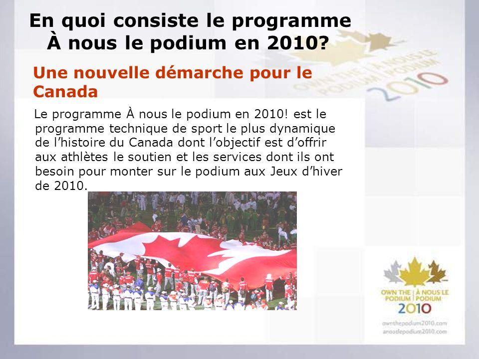 En quoi consiste le programme À nous le podium en 2010.