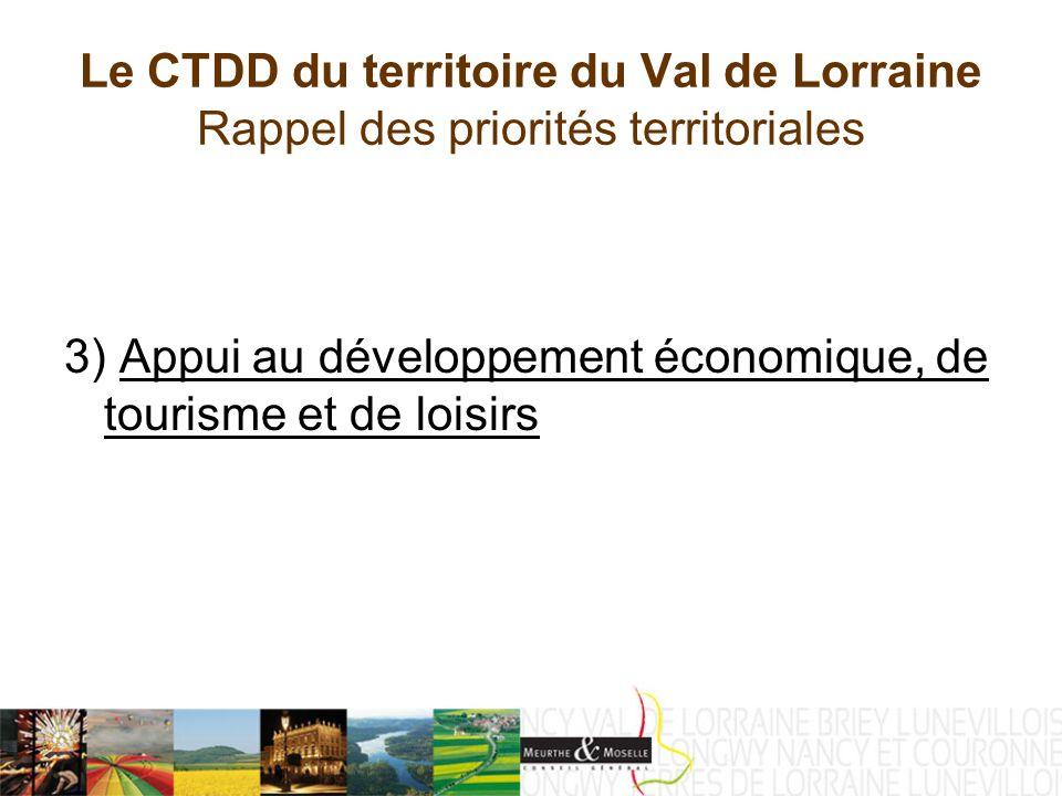 Le CTDD du territoire du Val de Lorraine Rappel des priorités territoriales 3) Appui au développement économique, de tourisme et de loisirs