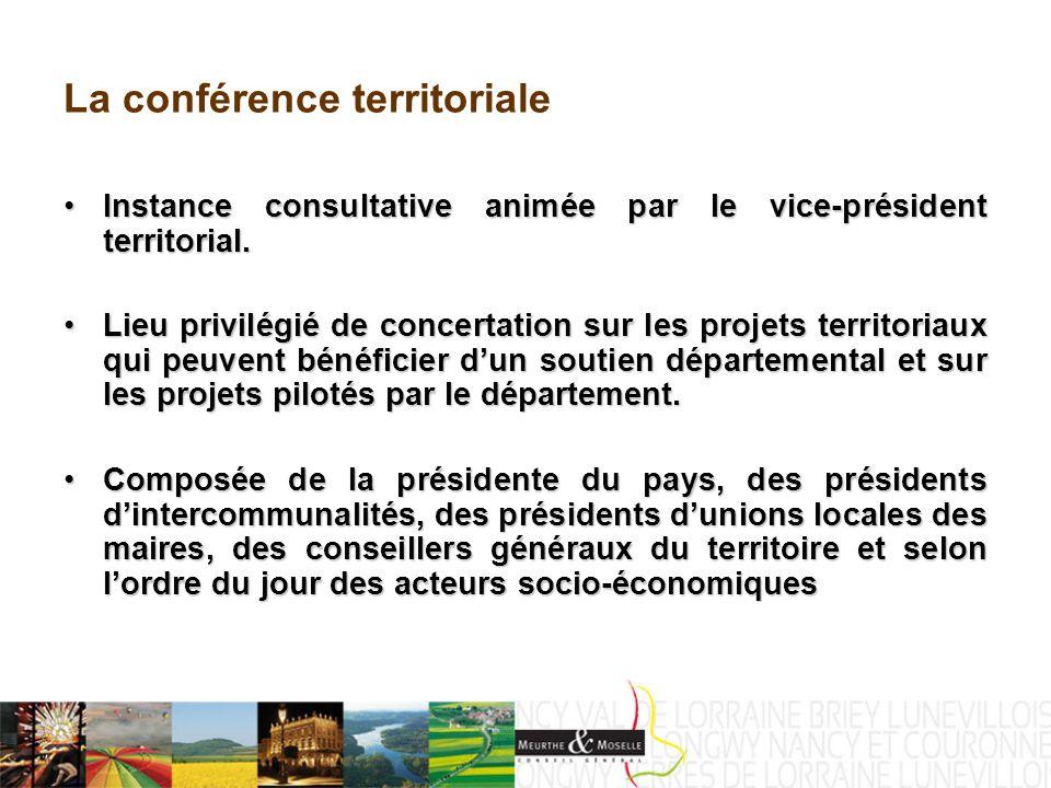 La conférence territoriale Instance consultative animée par le vice-président territorial.Instance consultative animée par le vice-président territorial.