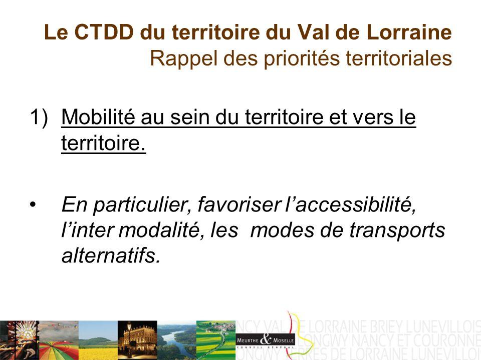 Le CTDD du territoire du Val de Lorraine Rappel des priorités territoriales 2) Renforcer une offre de service de qualité Culture : petite enfance : action éducative par le biais du projet éducatif territorialisé (PET).