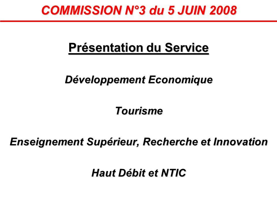 Présentation du Service Développement Economique Tourisme Enseignement Supérieur, Recherche et Innovation Haut Débit et NTIC COMMISSION N°3 du 5 JUIN
