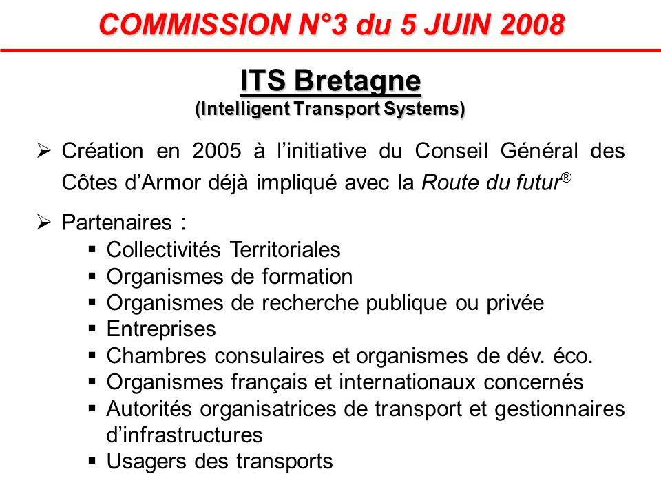 COMMISSION N°3 du 5 JUIN 2008 Création en 2005 à linitiative du Conseil Général des Côtes dArmor déjà impliqué avec la Route du futur ® Partenaires :
