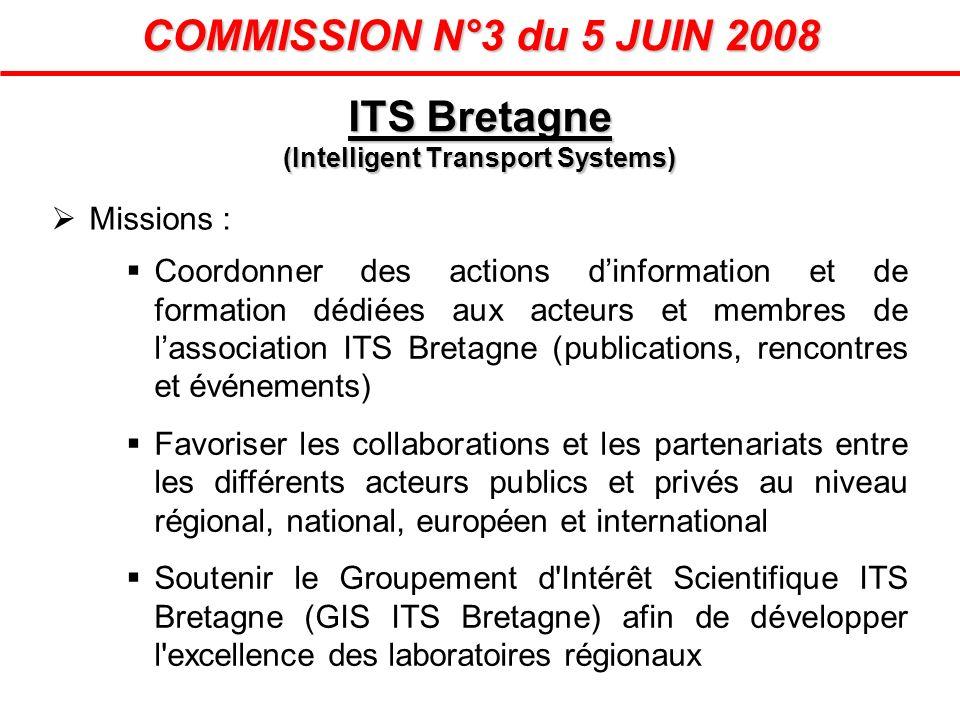 COMMISSION N°3 du 5 JUIN 2008 Missions : Coordonner des actions dinformation et de formation dédiées aux acteurs et membres de lassociation ITS Bretag