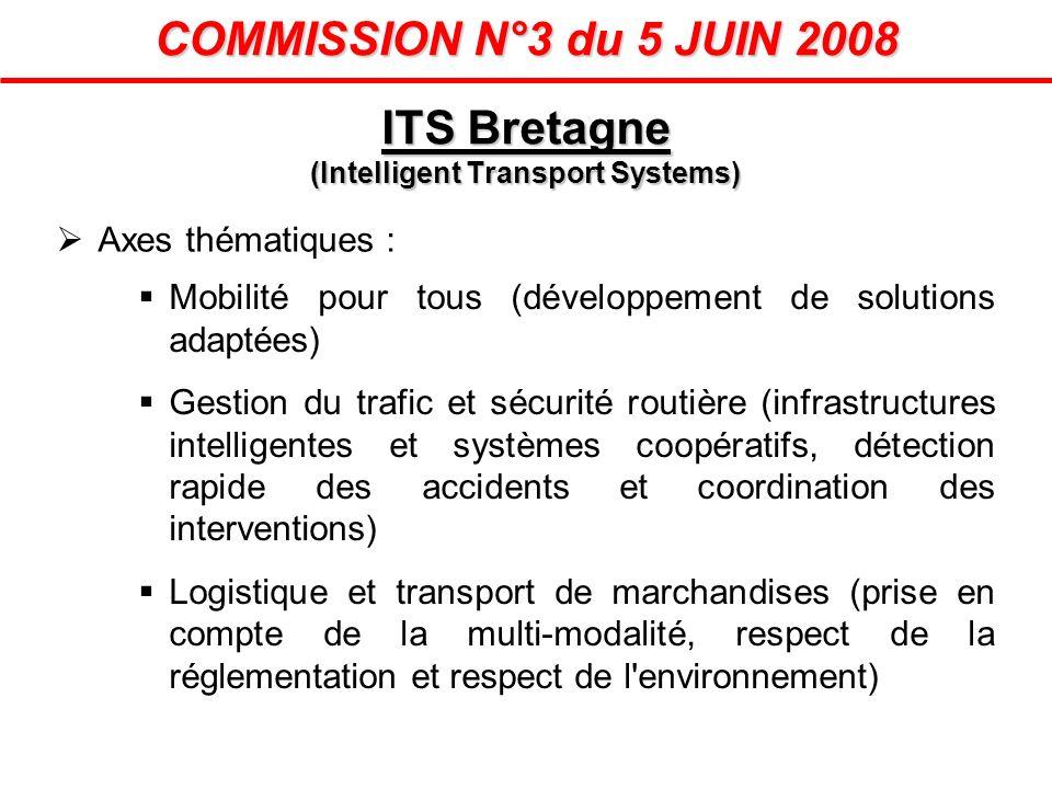 COMMISSION N°3 du 5 JUIN 2008 Axes thématiques : Mobilité pour tous (développement de solutions adaptées) Gestion du trafic et sécurité routière (infr
