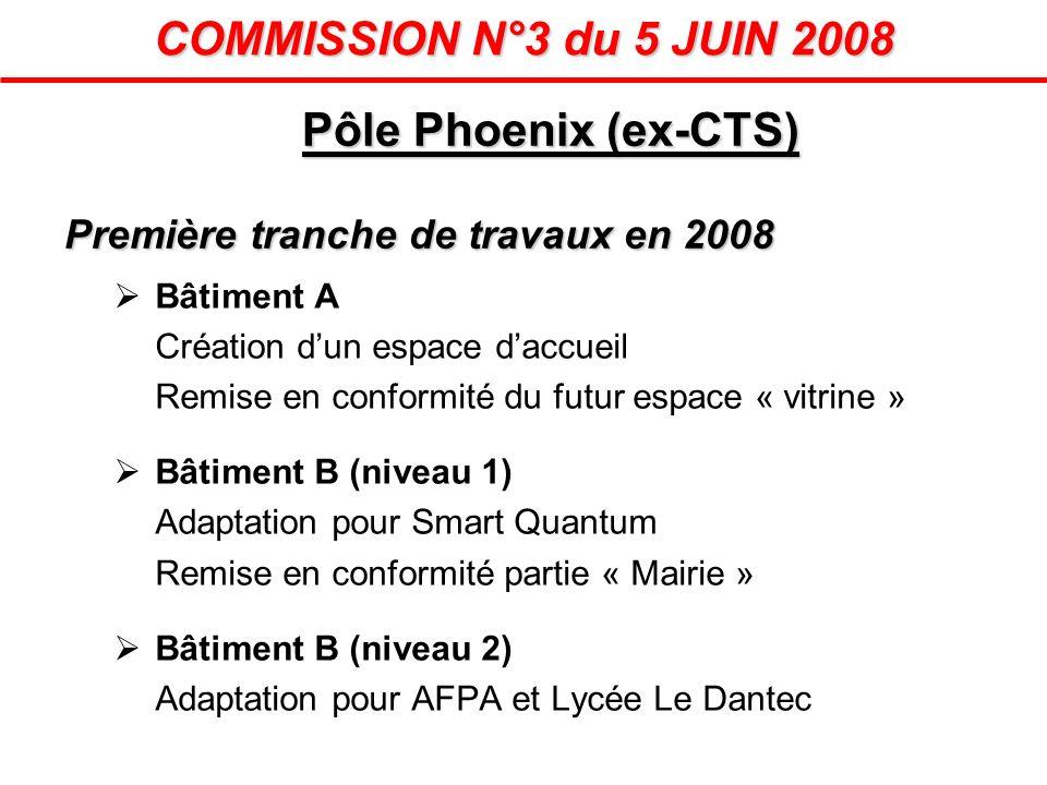 Pôle Phoenix (ex-CTS) Première tranche de travaux en 2008 Bâtiment A Création dun espace daccueil Remise en conformité du futur espace « vitrine » Bât
