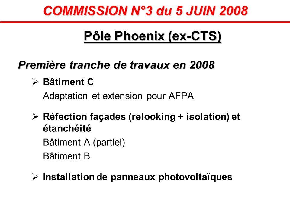Pôle Phoenix (ex-CTS) Première tranche de travaux en 2008 Bâtiment C Adaptation et extension pour AFPA Réfection façades (relooking + isolation) et ét