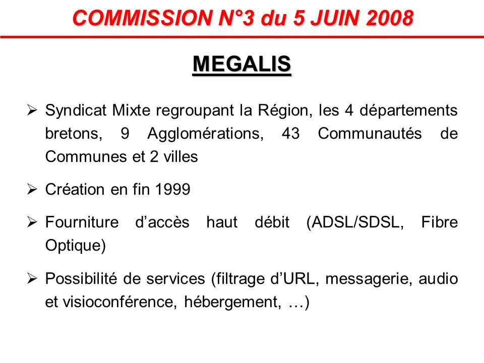 MEGALIS COMMISSION N°3 du 5 JUIN 2008 Syndicat Mixte regroupant la Région, les 4 départements bretons, 9 Agglomérations, 43 Communautés de Communes et