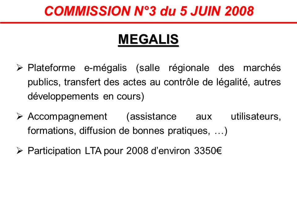 MEGALIS COMMISSION N°3 du 5 JUIN 2008 Plateforme e-mégalis (salle régionale des marchés publics, transfert des actes au contrôle de légalité, autres d