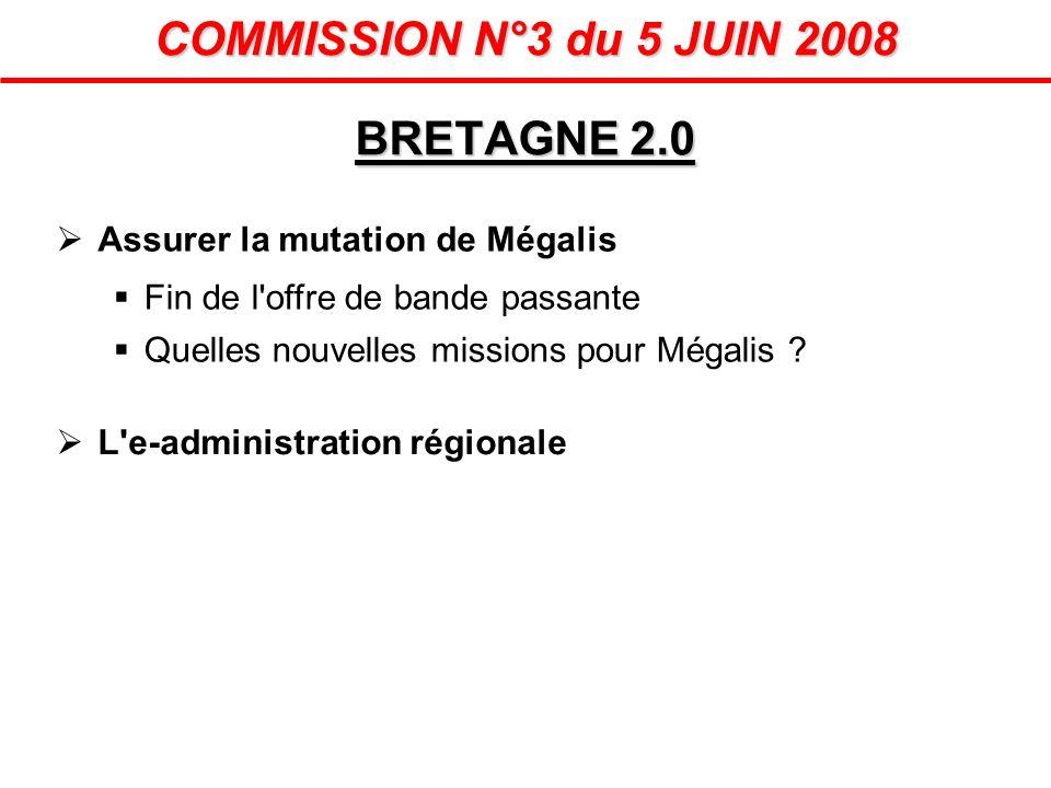 Assurer la mutation de Mégalis Fin de l'offre de bande passante Quelles nouvelles missions pour Mégalis ? BRETAGNE 2.0 COMMISSION N°3 du 5 JUIN 2008 L