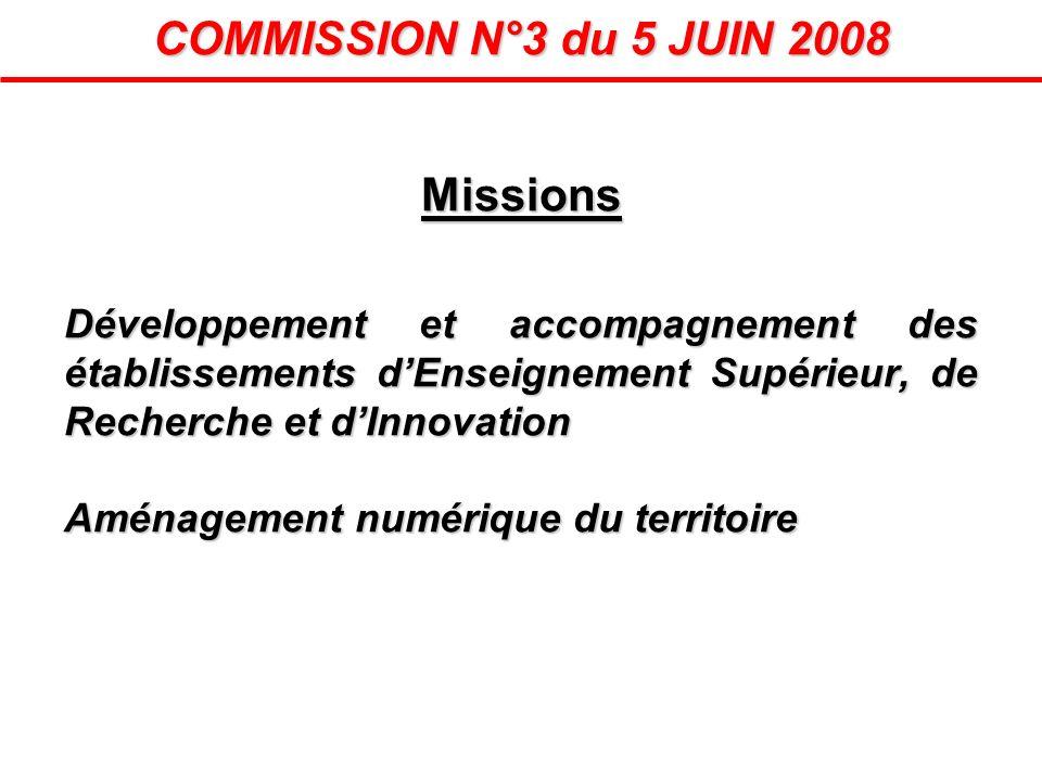 Missions Développement et accompagnement des établissements dEnseignement Supérieur, de Recherche et dInnovation Aménagement numérique du territoire C