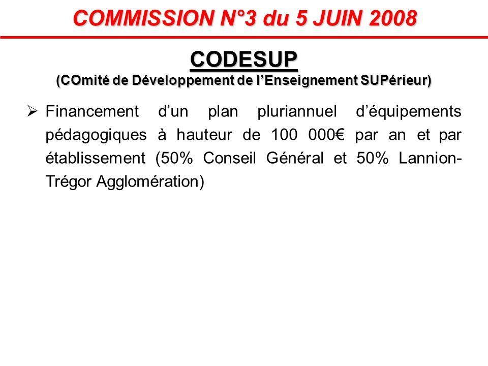 COMMISSION N°3 du 5 JUIN 2008 Financement dun plan pluriannuel déquipements pédagogiques à hauteur de 100 000 par an et par établissement (50% Conseil