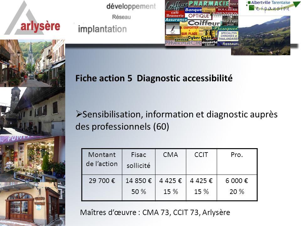 Fiche action 5 Diagnostic accessibilité Sensibilisation, information et diagnostic auprès des professionnels (60) Montant de laction Fisac sollicité CMACCITPro.