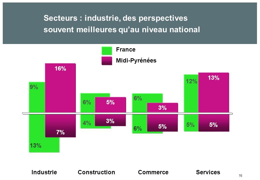 16 Secteurs : industrie, des perspectives souvent meilleures quau niveau national France Midi-Pyrénées 3% 9% 6% 12% 13% IndustrieConstructionCommerceServices 13% 7% 16% 5% 6% 4% 5% 6% 5%