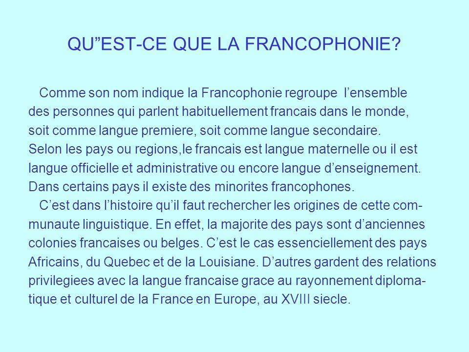 QUEST-CE QUE LA FRANCOPHONIE? Comme son nom indique la Francophonie regroupe lensemble des personnes qui parlent habituellement francais dans le monde