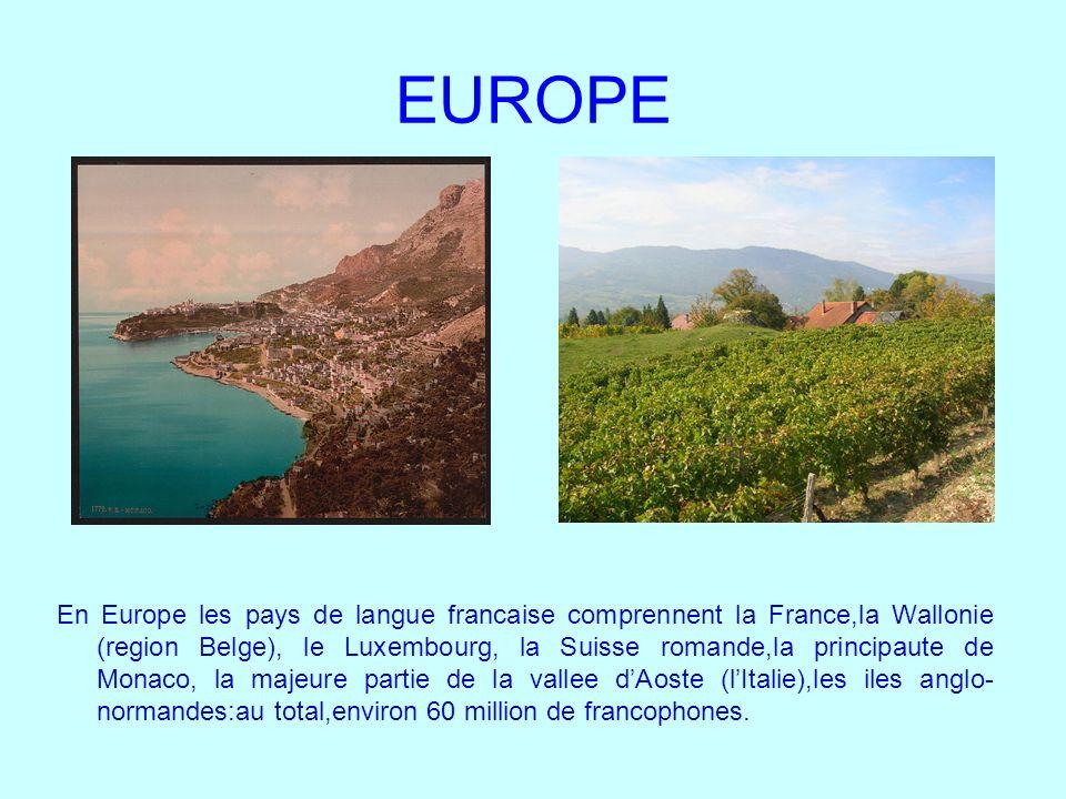 EUROPE En Europe les pays de langue francaise comprennent la France,la Wallonie (region Belge), le Luxembourg, la Suisse romande,la principaute de Mon