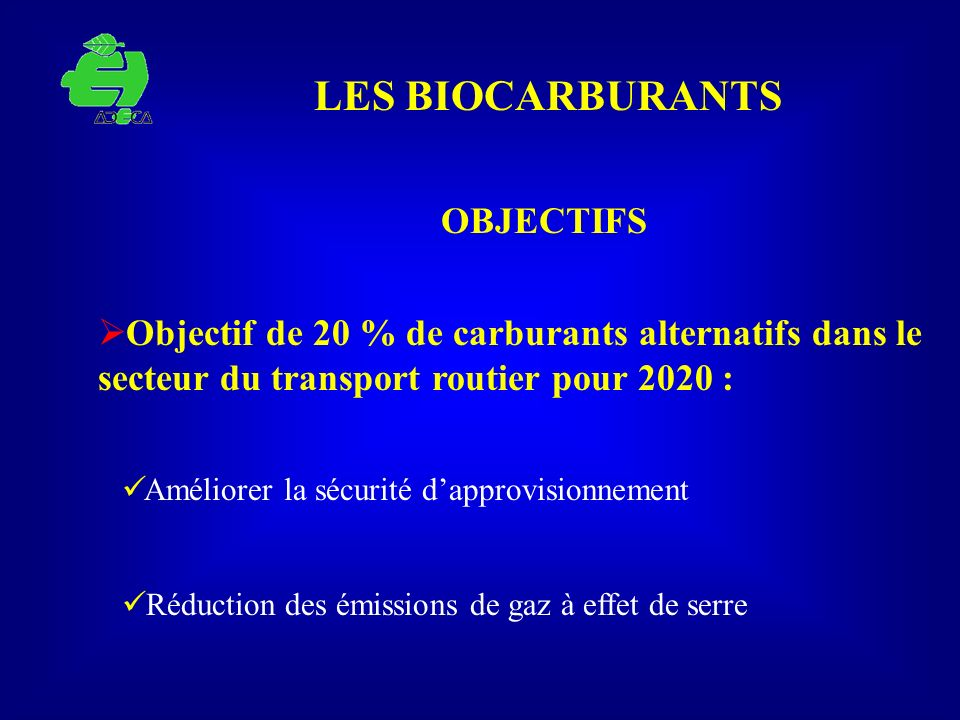LES BIOCARBURANTS OBJECTIFS Objectif de 20 % de carburants alternatifs dans le secteur du transport routier pour 2020 : Améliorer la sécurité dapprovi