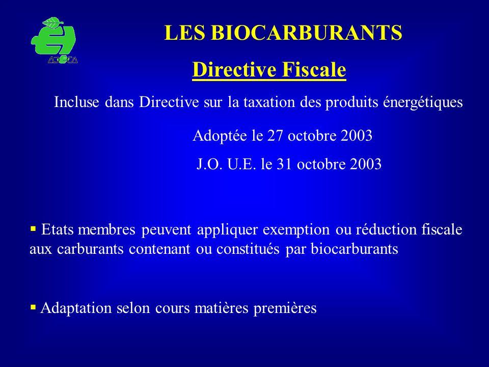 LES BIOCARBURANTS Etats membres peuvent appliquer exemption ou réduction fiscale aux carburants contenant ou constitués par biocarburants Adaptation s