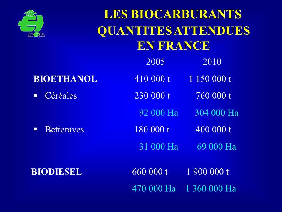 LES BIOCARBURANTS QUANTITES ATTENDUES EN FRANCE 2005 2010 BIOETHANOL 410 000 t 1 150 000 t Céréales 230 000 t 760 000 t 92 000 Ha 304 000 Ha Betterave