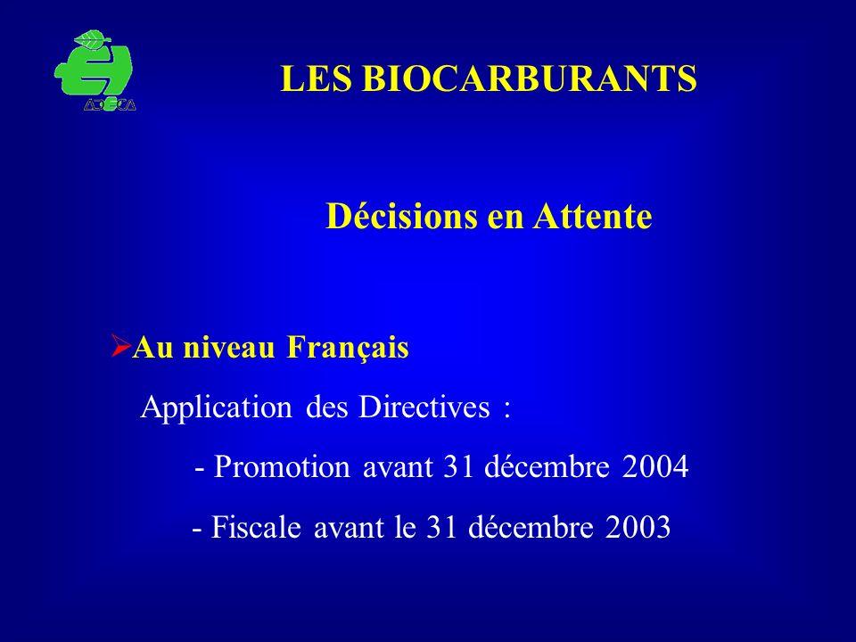 LES BIOCARBURANTS Décisions en Attente Au niveau Français Application des Directives : - Promotion avant 31 décembre 2004 - Fiscale avant le 31 décemb