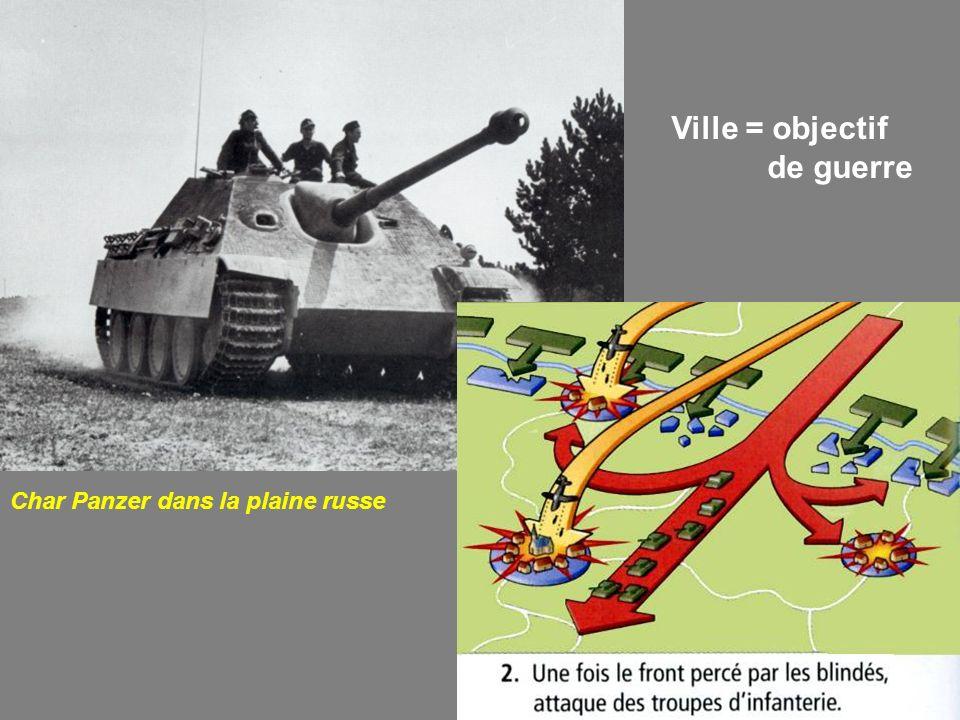 Char Panzer dans la plaine russe Ville = objectif de guerre