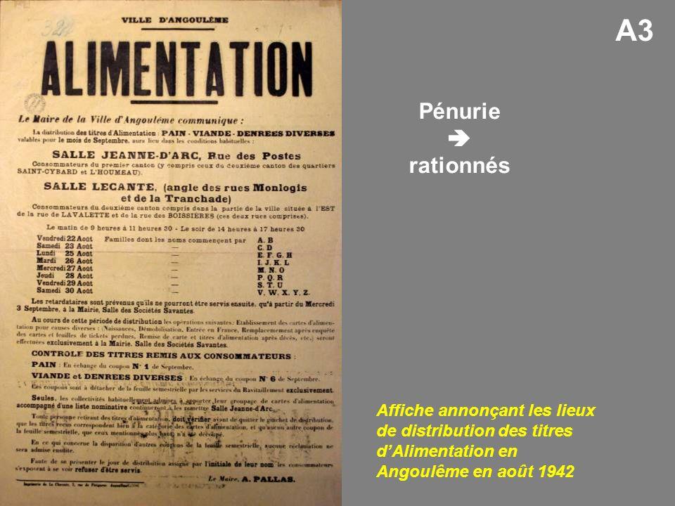 Affiche annonçant les lieux de distribution des titres dAlimentation en Angoulême en août 1942 Pénurie rationnés A3