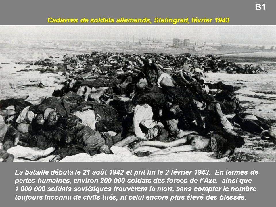 Cadavres de soldats allemands, Stalingrad, février 1943 B1 La bataille débuta le 21 août 1942 et prit fin le 2 février 1943. En termes de pertes humai
