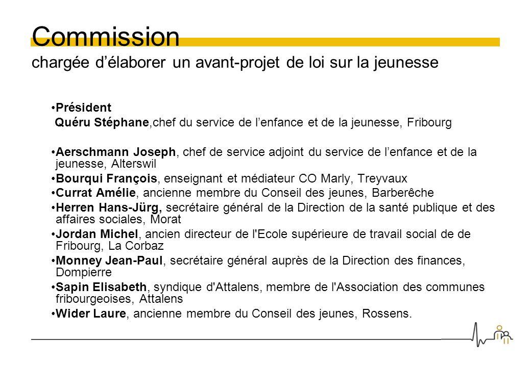 Commission chargée délaborer un avant-projet de loi sur la jeunesse Président Quéru Stéphane,chef du service de lenfance et de la jeunesse, Fribourg A
