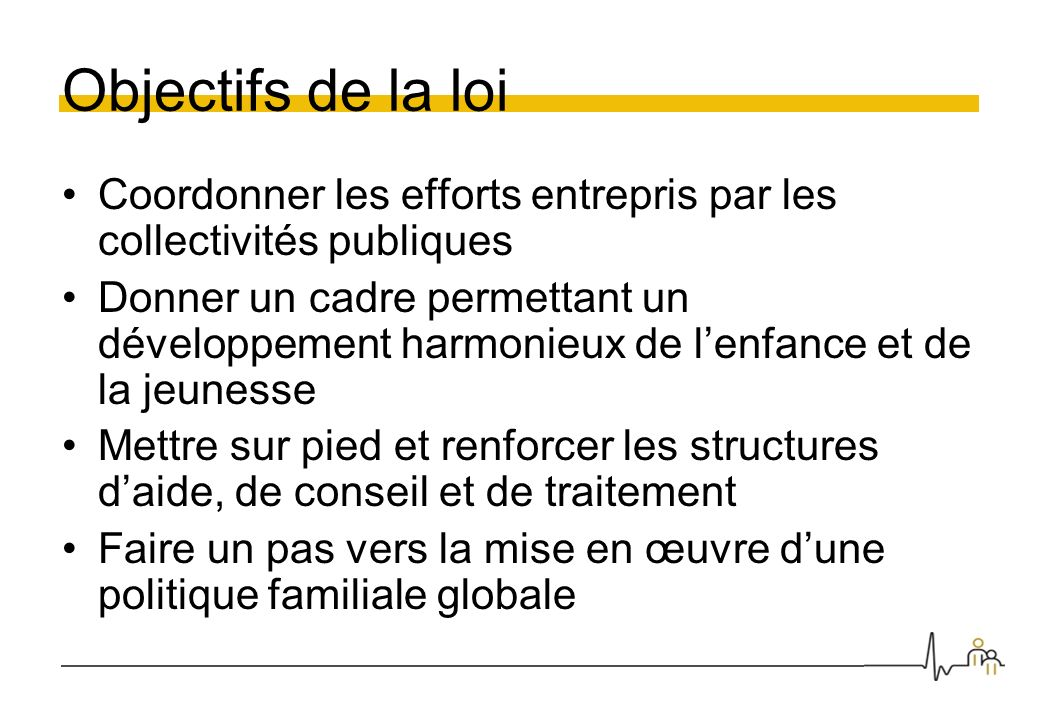 Objectifs de la loi Coordonner les efforts entrepris par les collectivités publiques Donner un cadre permettant un développement harmonieux de lenfanc
