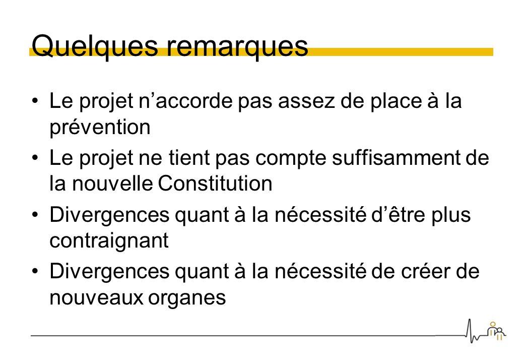 Quelques remarques Le projet naccorde pas assez de place à la prévention Le projet ne tient pas compte suffisamment de la nouvelle Constitution Diverg