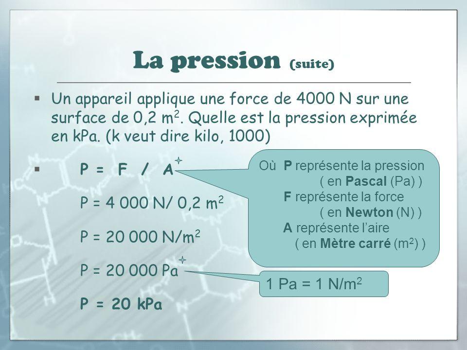 La pression (suite) Un appareil applique une force de 4000 N sur une surface de 0,2 m 2. Quelle est la pression exprimée en kPa. (k veut dire kilo, 10