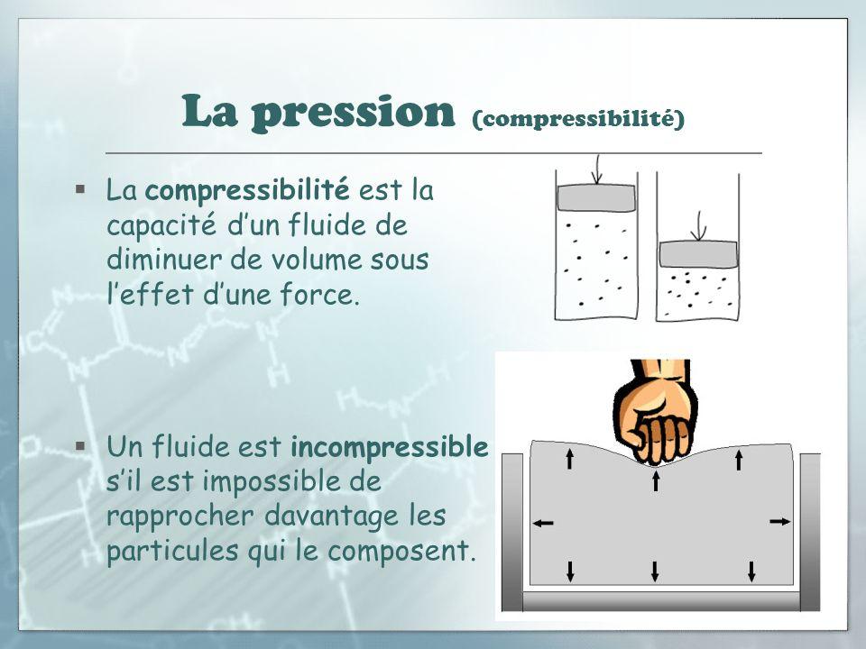 La pression (compressibilité) La compressibilité est la capacité dun fluide de diminuer de volume sous leffet dune force. Un fluide est incompressible