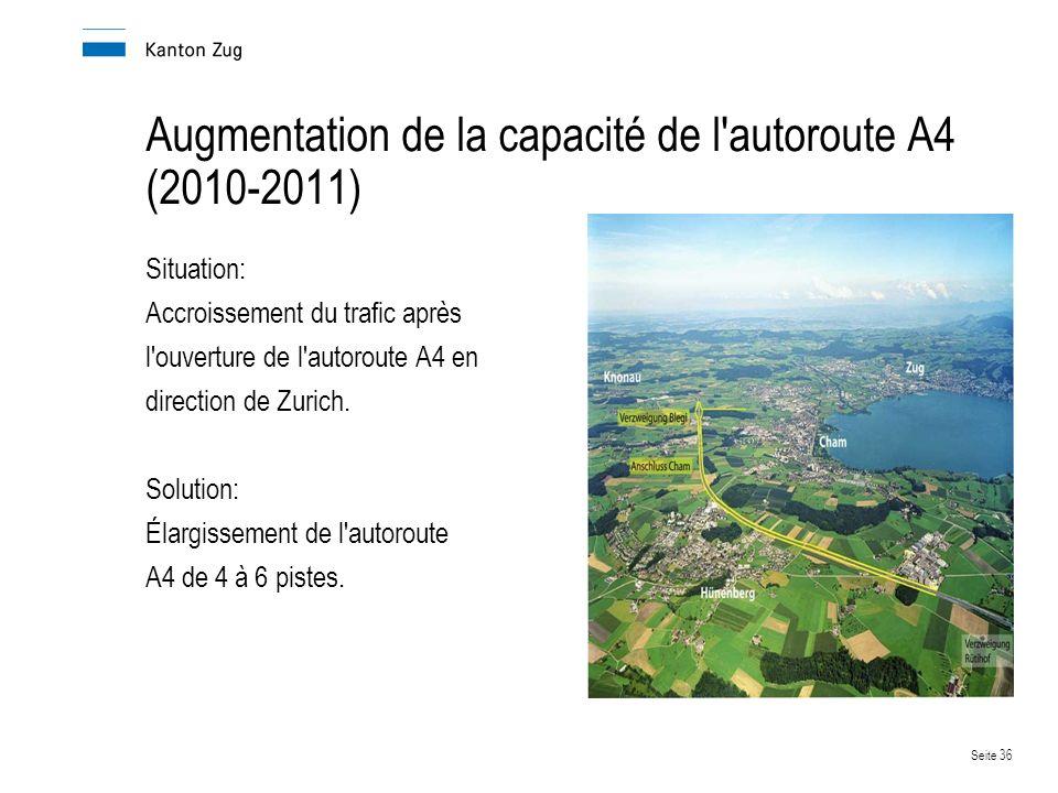 Seite 36 Augmentation de la capacité de l autoroute A4 (2010-2011) Situation: Accroissement du trafic après l ouverture de l autoroute A4 en direction de Zurich.