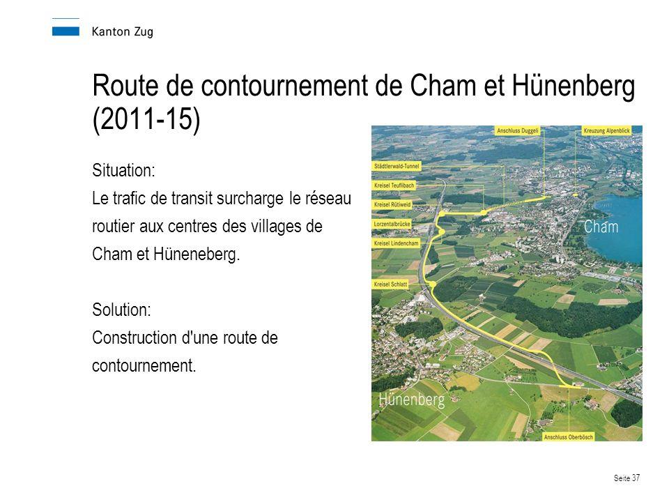 Seite 37 Route de contournement de Cham et Hünenberg (2011-15) Situation: Le trafic de transit surcharge le réseau routier aux centres des villages de Cham et Hüneneberg.
